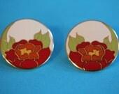 VINTAGE Laurel Burch -red- GARDEN ROSE pierced earrings