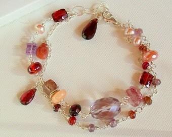 Gemstone Sunrise Bracelet. Multi strand Bracelet. Gemstone Multi Strand Bracelet. Garnet, Amethyst Gemstone Bracelet