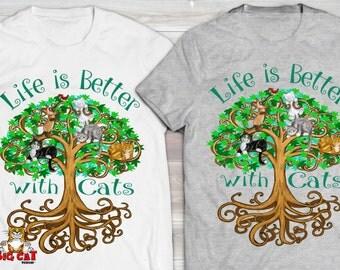 TREE OF LIFE with Cats.  Funny Cat Tshirt, Cat Lover TShirt. Cat Lady Tee.  Cat Meditation Tee, Cat Yoga Wear