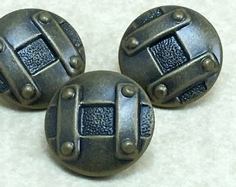 11/16  Antique  Brass  Domed Shank Plastic  Button Square Tic Tac Toe  6333  A16