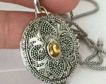 yellow Citrine Oval Locket Pendant Bali Sterling Silver Keepsake Chain Necklace PL20