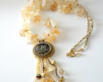 Lampwork Cabochon Necklace, Chunky Citrine Gemstones, Fringed Cabochon Pendant, Yellow Gold, Butterscotch, Long Necklace, Beadwork, OOAK