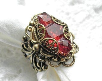 Ruby Rose Vintage Glass Jewel Ring - Antiqued Brass Ox Adjustable Ring - Vintage Glass Jewel