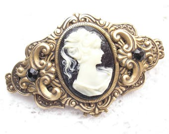 Ivory and Black Cameo Barrette Victorian Style Barrette Antiqued Brass Barrette Hair Accessory