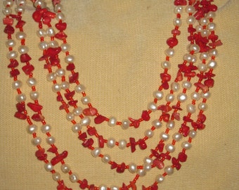 Pearl and red coral necklace