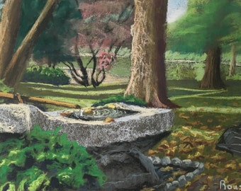 "Original Art Impressionist Plein Air Landscape Painting ""Basin at Seiwa En"" architecture art landscape impressionism"