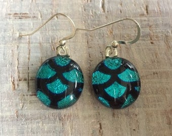 Blue Pattern Fused Dichroic Glass Earrings with Sterling Silver Ear Wires by Art Glass Jewelry FREE shipping