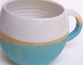 Huggable Turquoise blue stripe Mug.