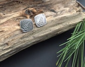Tiny Fern Squares Recycled Sterling Silver Post Earrings