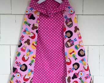 Super Girl Dress Up Cape | Reversible Pink Polka Dot | Costume | Superhero