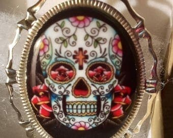 Sugar Skull CAMEO pin set in Filagree Silver tone 30x40MM unusual cameo multi color ceramic cameo day of the dead