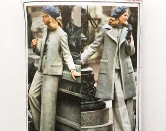 Vintage Pierre Balmain Sewing Pattern 1970s Vogue Paris Original 1026 Coat Jacket High Waisted Pants Skirt Blouse 34 Bust Size 12