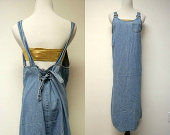 Faded Glory . 90s blue denim pinafore . small . made in USA