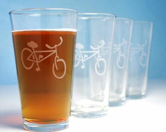 Bicycle Pint Glass - sandblasted permanent bike design