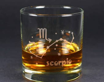 Scorpio Zodiac Constellation lowball glass