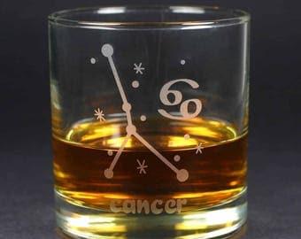 Cancer Zodiac Constellation lowball glass