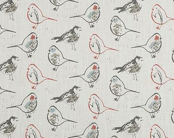 Premier Prints FABRIC - Bird Toile Slub Canvas - Scarlet