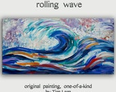 Original large modern sea art Rolling Wave Abstract impasto Acrylic painting Landsape painting by tim Lam 48x24