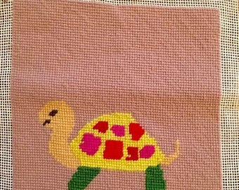 BIG SALE - Cute Turtle Needlepoint Panel for Framing or Pillow - Juvenile Room