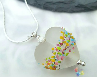 Memorial Lampwork Bead, Heart Bead, Pendant, Ashes, Pet, Loved One, Glass Memorial Bead, Necklace