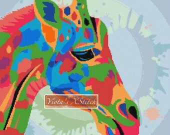 Modern cross stitch kit, Rainbow giraffe (v2) - abstract counted cross stitch kit