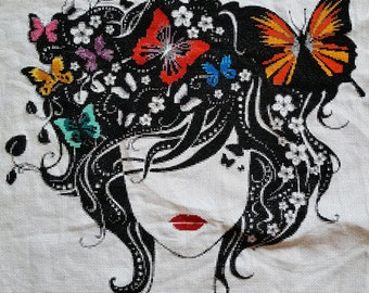 Woman with butterflies - modern butterfly counted cross stitch kit