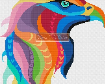 Rainbow eagle counted cross stitch kit