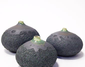 Ships Now-  3 droplet vases in crater slate grey by sarapaloma   Bud vases