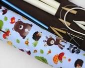 knitting needle case - knitting needle organizer - circular knitting needle case - fun woodland animals on light blue - 36 pockets