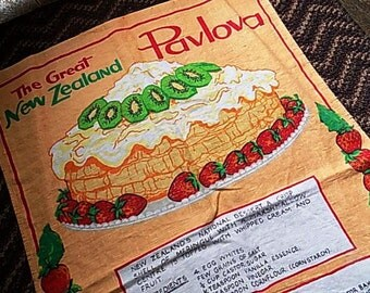 Vintage New Zealand Pavlova Dessert Linen Tea Towel Kitchenware