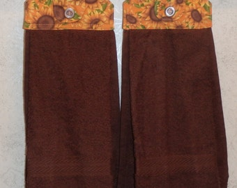 SET OF 2 - Hanging Cloth Top Kitchen Hand Towels - Sunflower Print, BROWN Towels