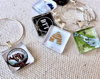 100 Company Logo Party Favor Wine Charms - 15mm Square Size Custom Glass Company Logo Charts for Events and Promos