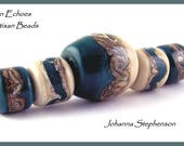 BIG HOLE Blue Green Waves and Silvered Sands Lampwork Bead Set by Canyon Echoes