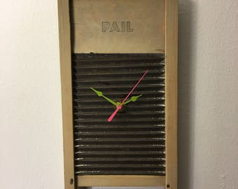 """Clock - Antique Washing Board, Wood says """"Pail"""" with pink hands & green sweep"""