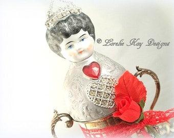Princess Valentina Ornate Trinket Box Sugar Bowl Art Doll Assemblage Antique Silver Plate Tea Party Sugar Bowl Lorelie Kay Original