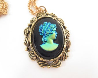 Vintage cameo necklace, black with iridescent bust, gold tone, mirror pendant, cameo mirror