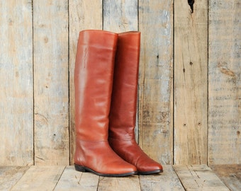 Leather Riding Boots, Us 6, Uk 4, Eu 37, Woman Boot 6, Brown Riding Boots, Leather Boots 6, Low Heel Boots, Round Toe Boots, Tall Boots