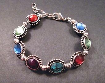 Glass Rhinestone Bracelet, Rainbow and Silver Beaded Bracelet, FREE Shipping U.S