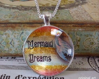 Mermaid Dreams, original art pendants ......mermaid silhoutette, gift boxed, mermaid pendants, beach pendants,dream,mermaids