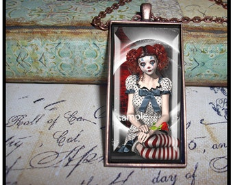 Poirot and Rose, altered art, illustration pendants, gift boxed, gothic, goth, black ,grundge,clowns,dolls, steampunk,black and white