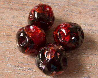 vintage japan cranberry red silver foil baroque bumpy handmade lampwork beads lot of 4