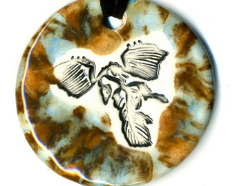 Archaeopteryx Dinosaur Fossil Ceramic Necklace in Brown and Blue