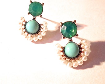 Green, emerald, turquoise and white pearl post earrings with gold detail. On sale, trendy, elegant, small, gift, small, everyday, girly