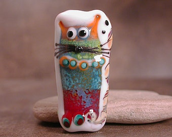 Lampwork Art Glass Focal Bead Cat and Owl Divine Spark Designs SRA