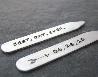 Best Day Ever Collar Stays, Groom's Collar Stays, Wedding day Collar Stays, Anniversary Collar Stays, Groom's Gift, Gift for the Groom