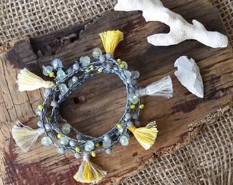 Festival Bracelet, Tassel Bracelet, Tassel Jewelry, Crocheted Bracelet Wrap, Hippie Style, Bohemian Bracelet, Boho Style, Yellow and Gray