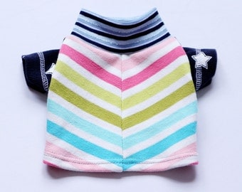 stars and rainbow stripes COURTNEYCOURTNEY small dog S cute upcycled cotton knit outfit top sweater print blue pastel chevron