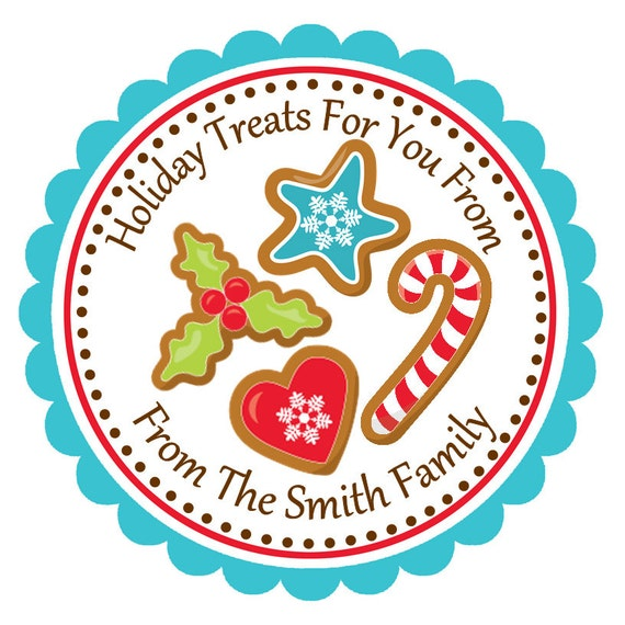 Personalized christmas cookies stickers christmas for 18 8 salon rancho santa margarita
