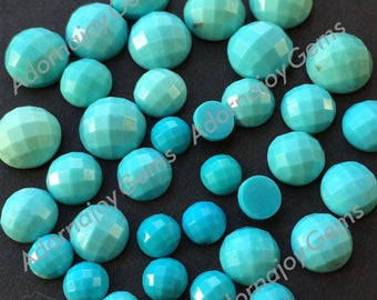 Gemstone Cabochon Turquoise 8mm Checkerboard FOR TWO