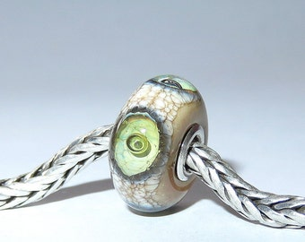 Luccicare Lampwork Bead - Antique Eyes -  Lined with Sterling Silver